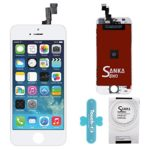 SANKA Retina LCD Digitizer Touch Screen Display Glass Replacement Frame Assembly for iPhone 5S-White