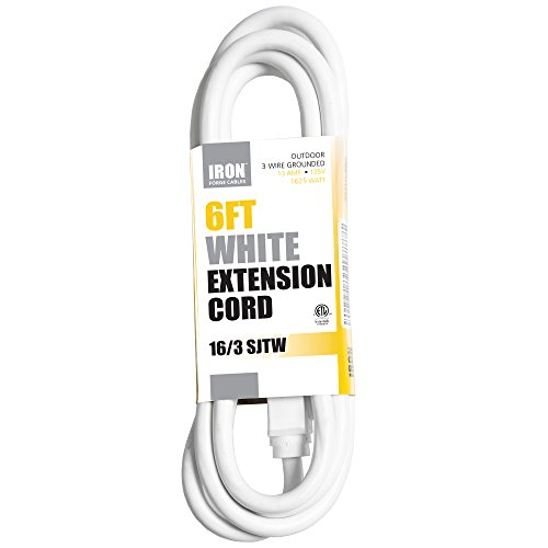 6 Ft White Extension Cord – 16/3 Heavy Duty Electrical Cable