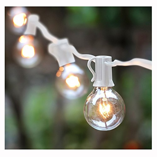 G40 String Lights With 25 Globe Bulbs UL Listed For Indoor Outdoor Commercial