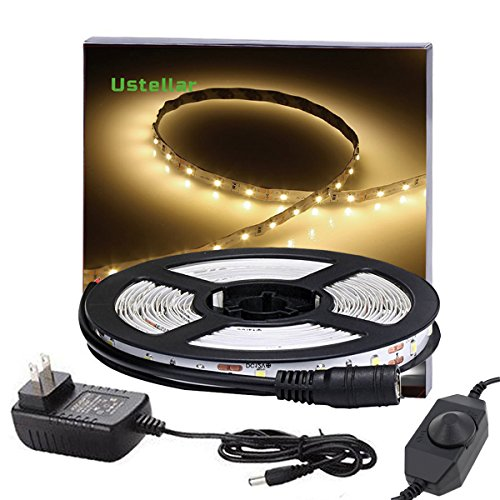 Ustellar Dimmable LED Light Strip Kit with UL Listed Power Supply, 300 Units SMD 2835 LEDs, 16 ...