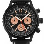 Stuhrling Original Mens Black Stainless Steel Pilots Chronograph Watch, Quick-Set Date, Black Leather Strap with Contrast White Stitching, 669 Series