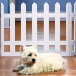 FOLDING WHITE PICKET FENCE PET GATE – ADJUSTS TO OVER 3 1/2 FT.WIDE!