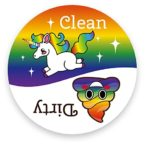 Dishwasher Emoji Magnet Clean Dirty 3 inch White Round Magnet – Cute Unicorn & Funny Rainbow Poop Face Emojis – Kitchen Magnet for Home Decor, Gift for Men & Women, or Party Favors, Made in USA