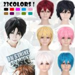 2-5 Days Delivery Unisex Japanese Anime Cosplay Wigs white Synthetic ShortFull Party Costume Wig Layered with Bangs and Cap Halloween Wigs for Women Men Girl Boy Teens (white)