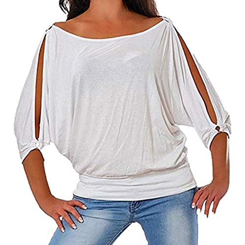 d0443a80d16778 Aniywn Women Tops Cold Shoulder Short Sleeves Round Neck Casual Plus Size  Solid Bat Sleeve T Shirts White ?